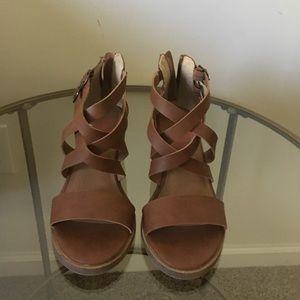 Brown straps heels